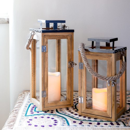 Lights4fun Large Wooden Battery Operated LED Candle Lantern 34cm with Rope Handle