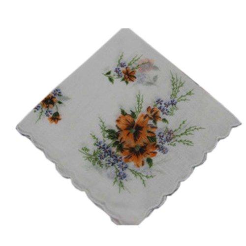 3 Pcs Retro Floral Print Handkerchiefs Ladies Cotton Pocket Handkerchief, #02