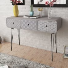 Side Cabinet / Console Table with 3 Drawers Grey