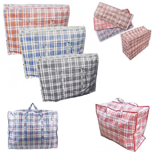 5 x Strong 80cm x 60cm Quality Storage Laundry Zipped Bag Recycled Reusable Bags