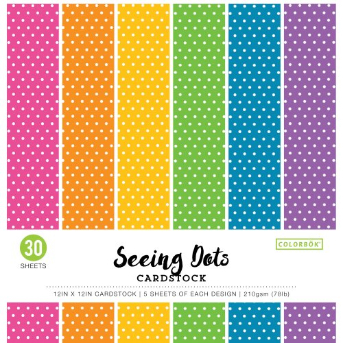 "Colorbok 78lb Single-Sided Printed Cardstock 12""X12"" 30/Pkg-Bright Spots, 6 Colors/5 Each"