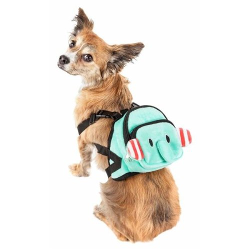 Pet Life BP5BLSM Dumbone Dual-Pocketed Compartmental Animated Dog Harness Backpack, Blue - Small