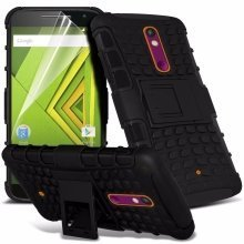 Itronixs - Sony Xperia Z3 Plus/z4 Rugged Heavy Duty Armour Shock Proof Hard Stand Case Cover with Lcd Screen Protector