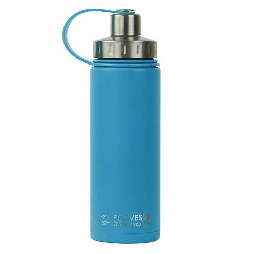 Ecovessel Boulder 600ml Hot Cold Drinks Water Bottle & Strainer  Hudson Blue