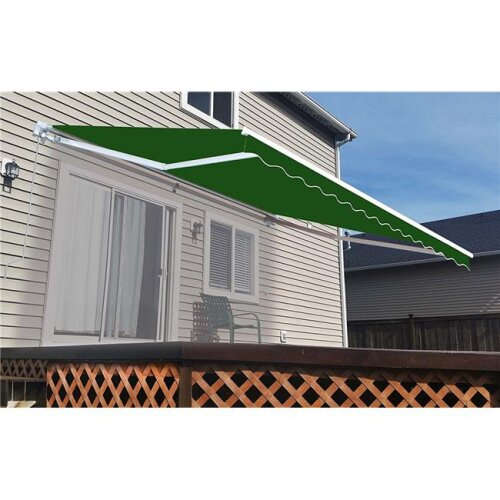 Aleko AW12X10GREEN39-UNB 12 x 10 ft. Retractable Outdoor Deck Sunshade Patio Awning, Green