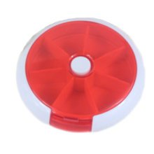 Circular 7 Day Pill Reminder Medicine Storage Container Pill Case, Red
