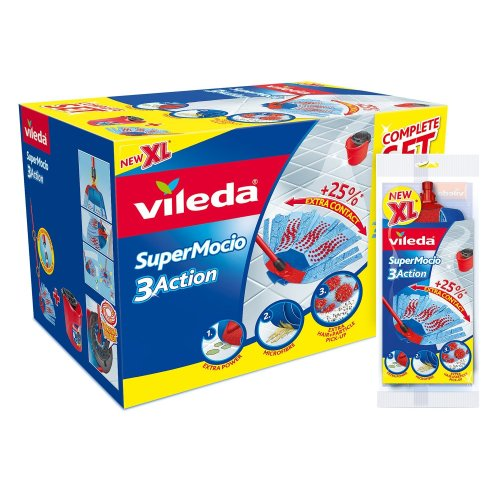 Vileda SuperMocio 3Action XL Mop and Bucket Set with Extra Refill, Red