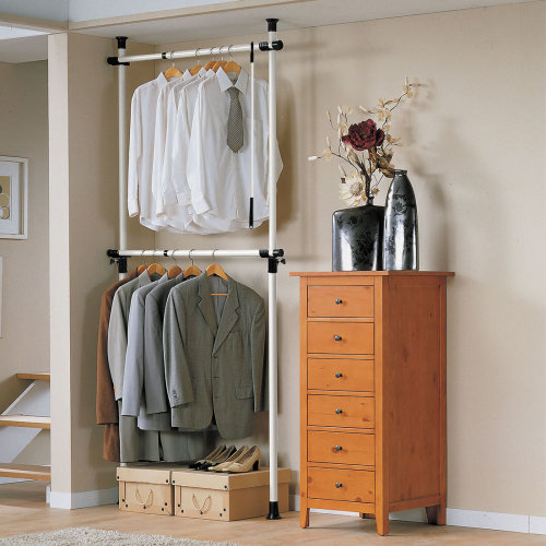 SoBuy® FRG109, Adjustable Hanging Rail Clothes Rack Wardrobe Organiser