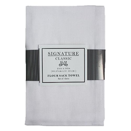 J & M Home Fashions 7420 24 x 36 in. White 100 Percent Cotton Flour Sack Towels - 3 Pack, Pack Of 3