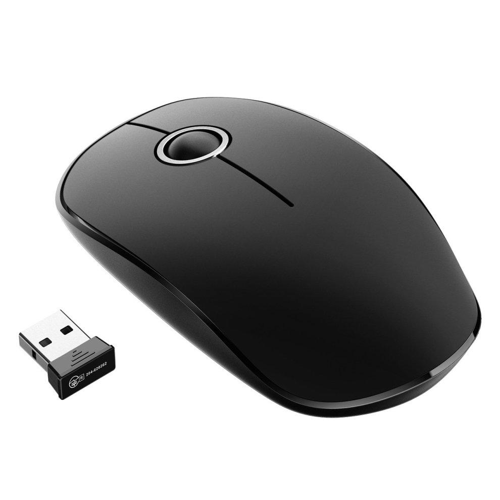 VicTsing 2 4G Slim Noiseless USB Laptop PC Computer Cordless Mouse  Black+Silver