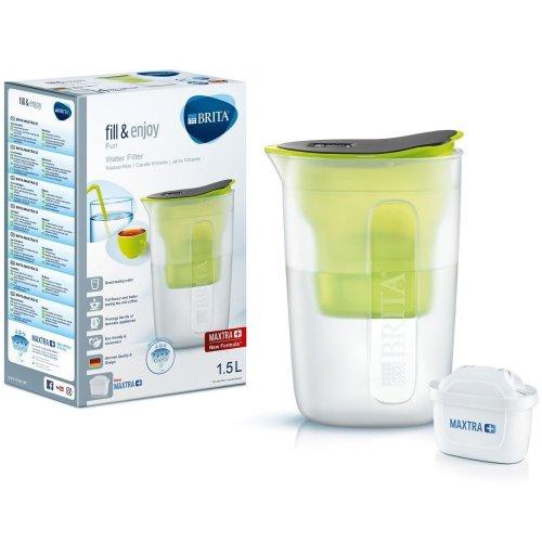 BRITA Fun Water Filter Compact Fridge Jug and MAXTRA+ Plus Cartridge Refill Lime