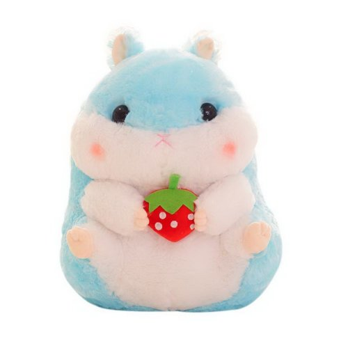 Hamster Plush Toy Doll Pillow Funny Decoration Toy Pillow Strawberry Blue Pillow
