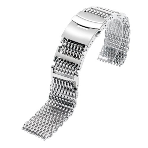 YISUYA Solid 316L H-Link Stainless Steel Shark Mesh Watch Strap Band 22mm Width Silver