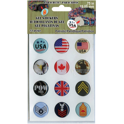 """.75"""" Gel Stickers For Paracord Charms & Buckles 12/Pkg-Patriotic"""