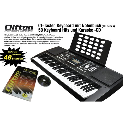 Clifton 6210 °C Keyboard LP6210 °C | USB MIDI 61 Note Touch-Sensitive Keyboard power supply Pitchbend Wheel