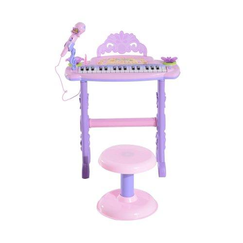 Homcom 32 Keys Kids Mini Electronic Keyboard Musical Instrument Toy Children Grand Piano W/ Stool Microphone Light