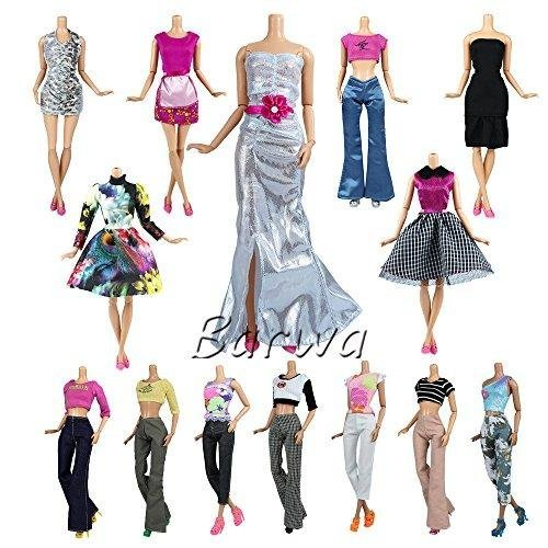 Barwa Lot 10 Sets Fashion Casual Wear Clothes/Outfit For Barbie Doll Random Style Xmas Gift