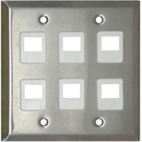 Cables To Go 37099 8-PORT DUAL GANG MULTIMEDIA KEYSTONE WALL PLATE - STAINLESS STEEL