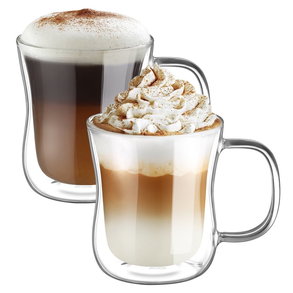 5d9dd01c411 Ecooe Double Wall Cappuccino Latte Macchiato Glasses Cups with Handle  Coffee Tea Milk Juice Glass Cups 350ml/12oz Set of 2 on OnBuy