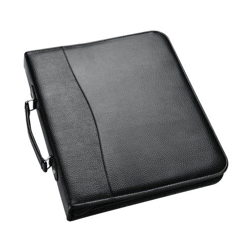 A4 Conference Folder With Handle Ringbinder Folio Zipper Closure Black
