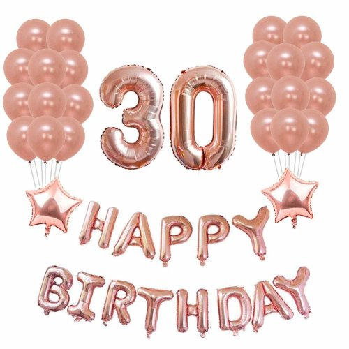 Yoart 30th Birthday Decorations Rose Gold Party Sets Happy Banner 2 Star Foil Balloon 20 Latex Balloons On
