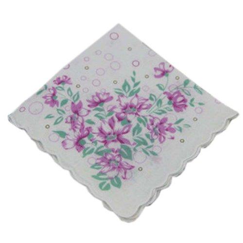 3 Pcs Retro Floral Print Handkerchiefs Ladies Cotton Pocket Handkerchief, #08