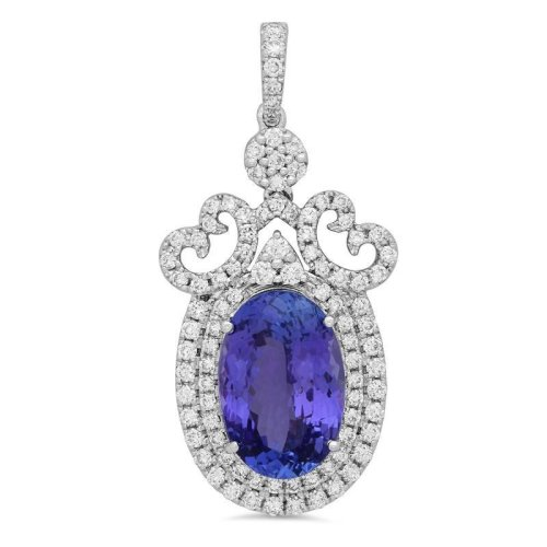 White Gold 14K 8.48 Ct. Oval Tanzanite & Diamonds Pendant Necklace