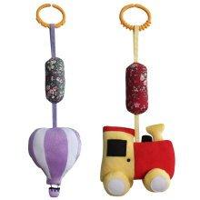 Baby Crib & Stroller Toys, Set of 2, [Train & Hot-air Balloon]
