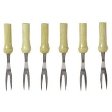 Pack Of 6 Corn Cob Barbeque Forks - Chef Aid Holders Stainless Steel Skewers -  forks corn cob chef aid holders 6 pack stainless steel skewers wood