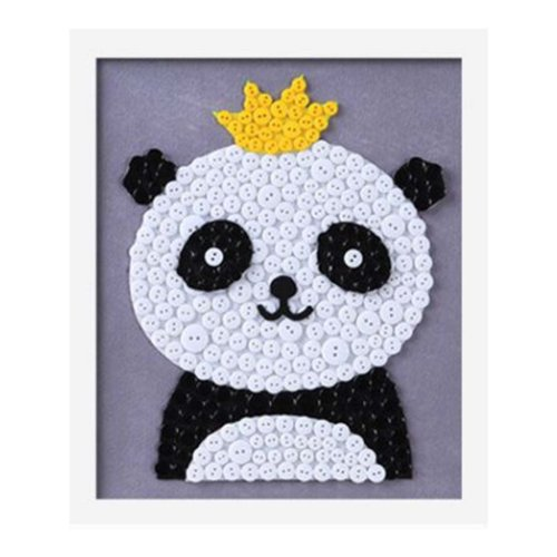 Cute Panda DIY Button Painting Mosaic Craft for Kids