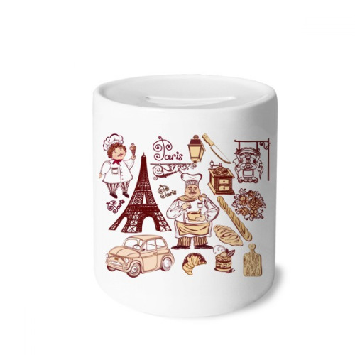 Food Cooker France Eiffel Tower Money Box Saving Banks Ceramic Coin Case Kids Adults