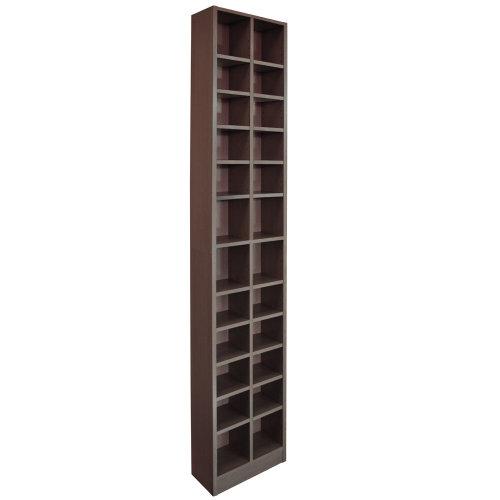 BLOCK - Tall Sleek 360 CD / 160 DVD Media Storage Tower Shelves - Dark Oak