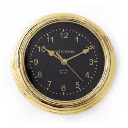 Wall Clock Round Black & Gold Whitechapel London Home Office Decor 22cm