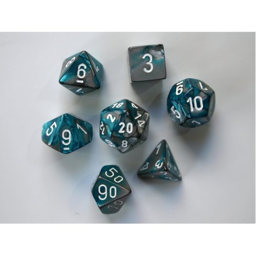 Chessex Gemini Polydice Set - Steel-Teal w/white