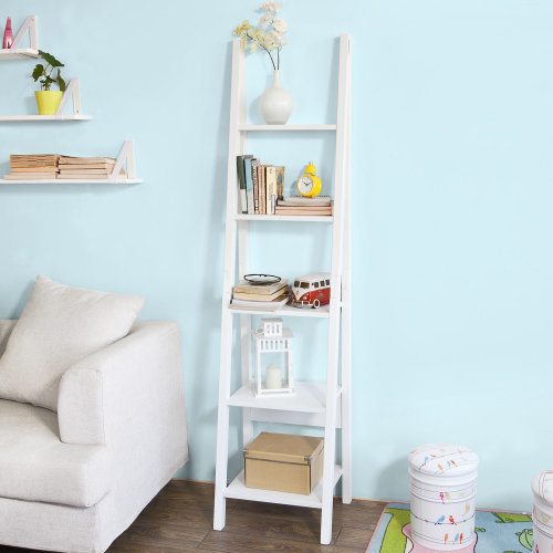 SoBuy® FRG101-W, White 5 Tiers Bookcase Ladder Shelf Storage Display Shelving