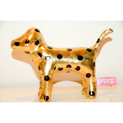 "Victoria's Secret PINK Polka Dot Metallic Gold Solid Plush Dog 7"" Mini Dog"