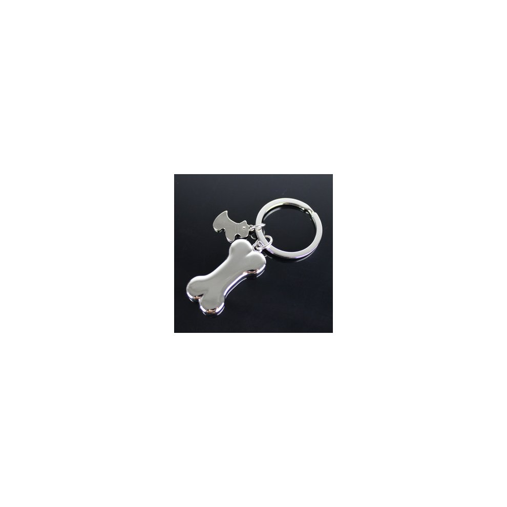 0457d58726 ... Silver Puppy Dog Bone Tag Shape Bag Charm Cool Novelty Metal Keyrings  Key Ring Key Chain ...