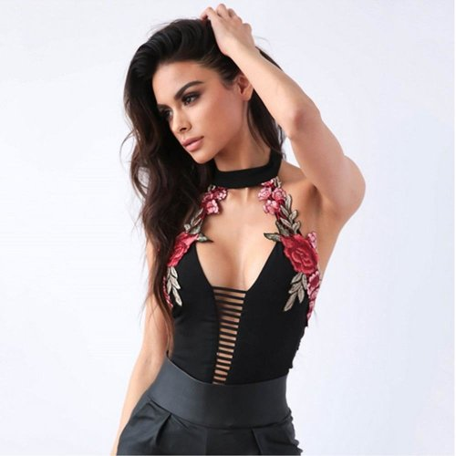 Summer Backless Women Rompers Sexy Slim Bodysuit with Floral Embroidery Hollow Out High-waisted Halter Bodysuits for Female 2018