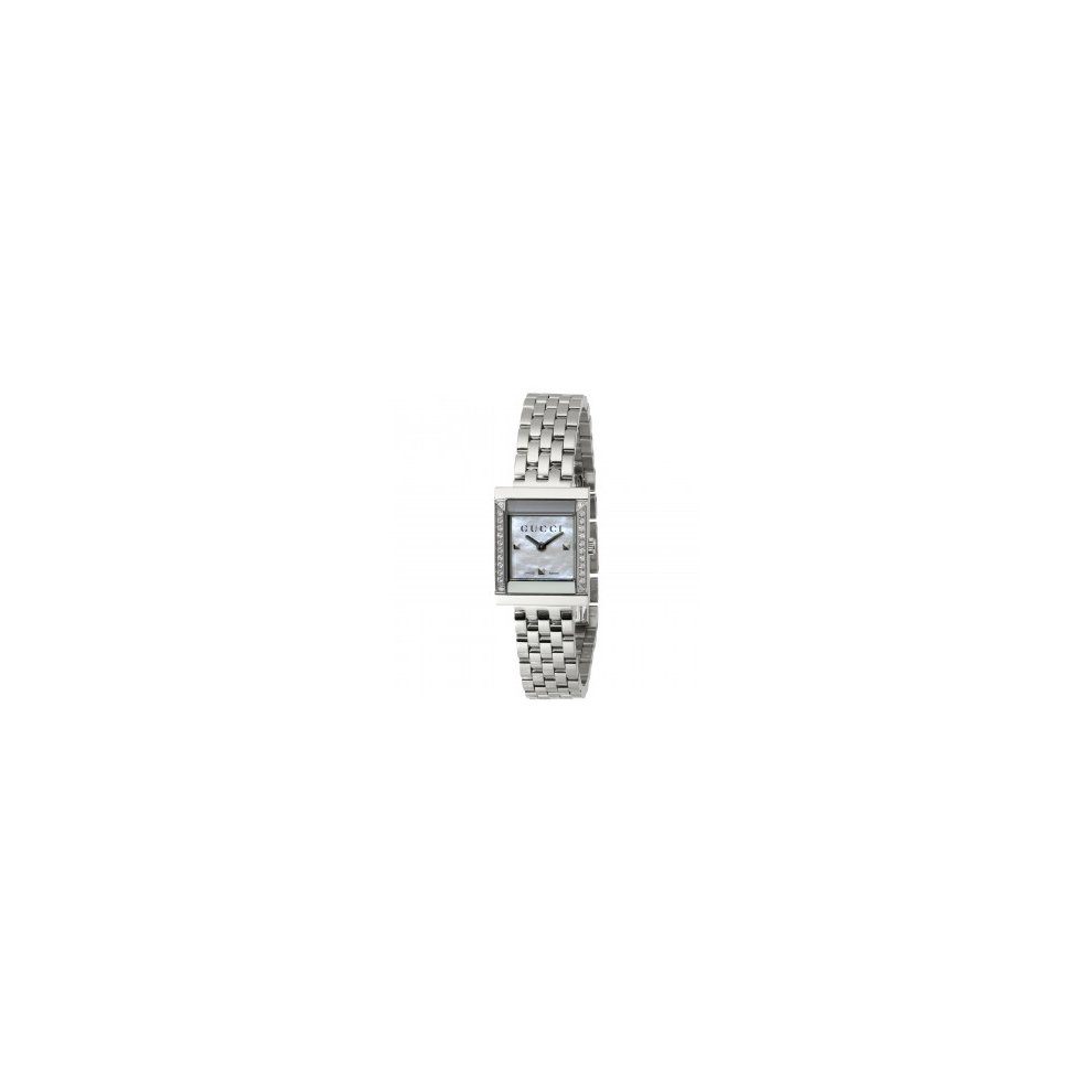 1dda58a91f2 GUCCI WATCH G-FRAME MEDIUM LADY MOTHER OF PEARL DIAMOND QUARTZ STEEL  YA128405.