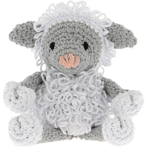Hoooked PAK130 Lamb Crochet Yarn Kit, White & Gray