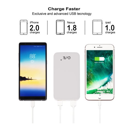 Power Bank 10000mAh Q4U® capacity power bank Fast charging White