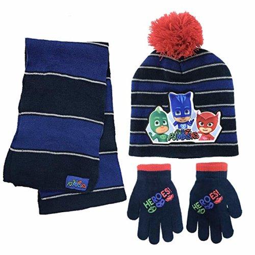 Beanie Cap - PJ Mask - Black/Blue w/Scarf & Glove Set Hat 365193