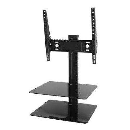 King Tilt & Turn TV Wall Mount Bracket With AV Wall Floating Shelf Black Glass Shelves Perfect For Sky Box, PS4, Xbox,DVD - up to 47'