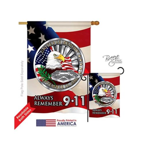 Breeze Decor 11063 Patriotic Always Remember 2-Sided Vertical Impression House Flag - 28 x 40 in.