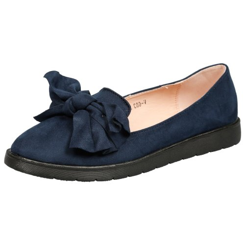 Haylen Womens Low Heel Flatform Slip On Bow Detail Loafers