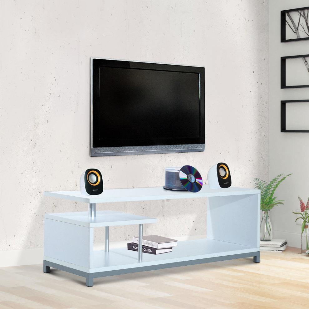 Homcom modern tv cabinet stand w 2 tier storage shelves home furniture 114cm white