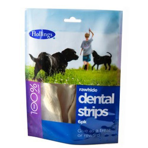Hollings  Rawhide Dental Strips For Dogs 6 Pack x 8