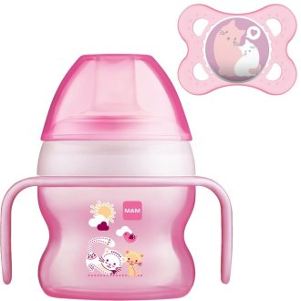 MAM Starter Cup 150ml with 0+ Soother - Pink