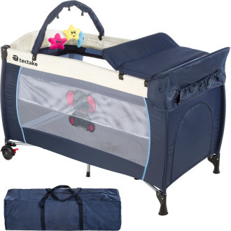 Travel cot elephant with changing mat and play bar - blue