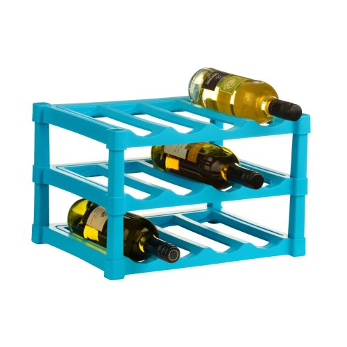 3 Tier Blue Wine Rack For 12 Bottles Made From Plastic